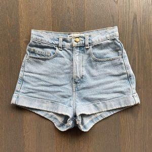 American Apparel Lightwash High Waist Jean Shorts